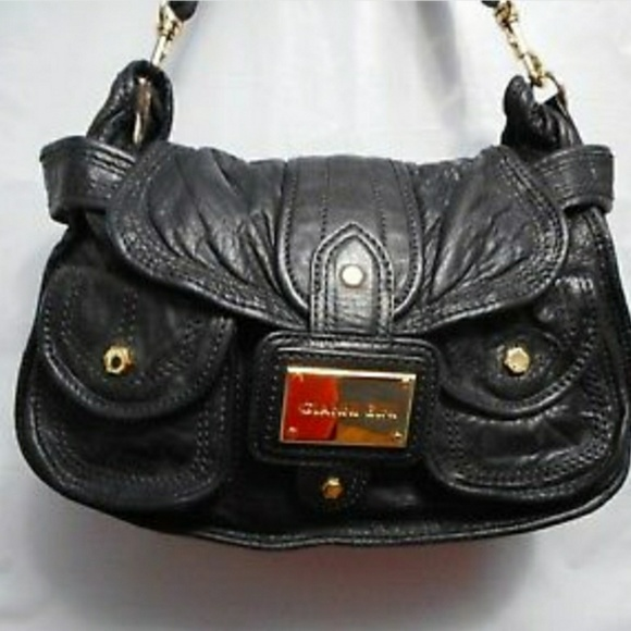 Gianni Bini Handbags - Gianni Bini Black Soft Leather Flap Shoulde